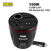 150W Car Power Inverter DC 12V to 115V AC Converter with 2.4A Dual USB Adapter and Cigarette Lighter Socket
