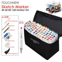 TOUCHNEW 40/60/80/168 Color Graphic Marker Pen Set Copic Sketch Touch Art Markers Alcohol Based Art Supplies Manga With 6 Gifts