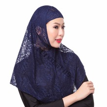 Print Lace 2 Piece Amira Hijab Muslim Scarf Head Covering Inner Caps Islamic Hat Popular Shawls Free Shipping