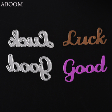 ABOOM 2PCS Good Luck Letter Metal Die Cut Custom Design Embossing Folder Scrapbooking Album Photo Paper DIY Card Making Template(China)