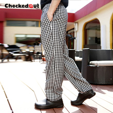 2017 food service white and black check chef pants for men hotel elastic band and tie waist restaurant kithen cook trousers