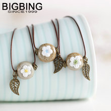 BIGBING Jewelry Fashion ceramic flower Hand knitting necklace high quality  Free shipping C066