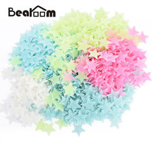 Bearoom Wall Stickers DIY 3D Home Decor Glow Stars Fluorescent Plastic Decals In The Dark Stars for Nursery Kids Room 100pcs(China)