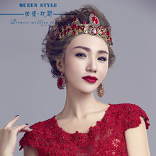 Baroque crown headdress bride jewelry wedding crown red crown studio beauty queen crown(China)