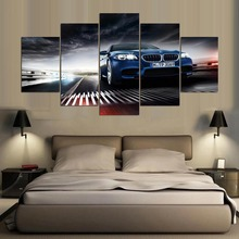 5 Pieces/set Printed BMW m5 f10 sedan Painting on Canvas Room Decoration Print Picture Canvas Decoracion Artworks ID-71