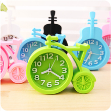 Candy colors Creat Portable mini Mute children student clock bicycle Desk Table Alarm Clocks gifts favor(China)