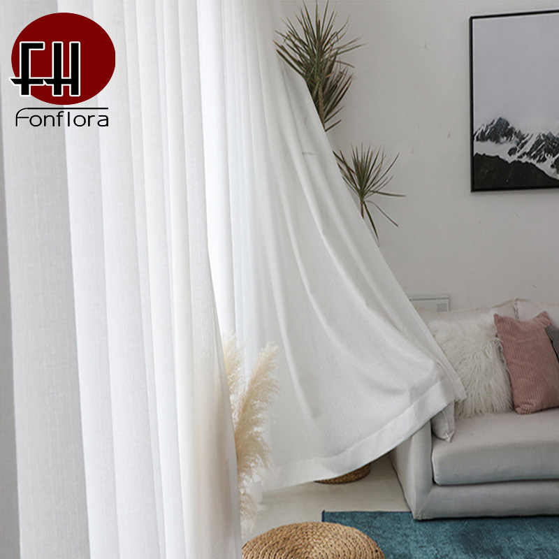 Solid White Thick Tulle Curtains For Living Room Bedroom Sheer Curtains Modern Voile Decorative Window Treatments Customized