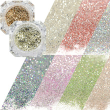 0.2g Sparkly Diamond Platinum Nail Art Glitter Chrome Powder Decorations DIY Charm Flakes Mix Gold/Silver/Blue Pigment CHBG01-26