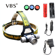 Zoomable Headlamp 1000 Lumens CREE Q5 LED Headlight Head lamp + Charger LED Head Light Lamp with Green / Red / Blue Diffuser
