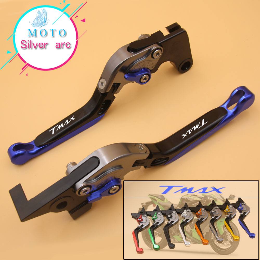 !!!Logo(Tmax) Blue+Titanium For Yamaha TMAX 500 TMAX500 2001 2002 2003 2004 2005 2006 2007 CNC Motorcycle Brake Clutch Levers<br>