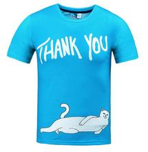 Latest trend 3D Thank You Lazy Cat men Short-sleeve tees HOT T-shirt fashion summer O neck tops Rock HIP HOP Trendy brands S-3XL