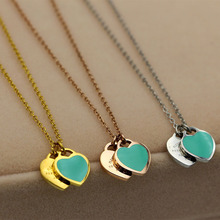 Titanium steel luxury brand Forever Love Blue and pink Double Love Heart Necklace for woman Drop Rose Gold Short Chain Clavicle