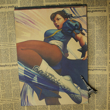 5 Sizes Home Decoration Series Arcade Street Fighter Cartoon Movie Poster Chun Li Comic Printed Draw Picture Hanging Kraft Paper