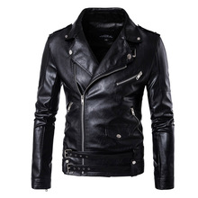 Buy New Retro Vintage Faux Leather Motorcycle Jacket Men Turn Collar Moto Jacket Adjustable Waist Belt Jacket Coats Size M-5XL for $52.75 in AliExpress store