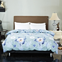 Elegant Fashion Simple 100% Cotton Comfortable And Soft Bedding Blue Print Pattern Quilt Cover Breathable Multi-Size Optional(China)