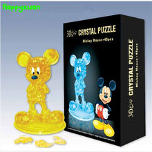 Happyxuan DIY 3D Jigsaw Crystal Puzzle Mickey Model Plastic Home Decoration Birthday Gift for Children