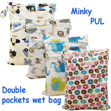 1PC Reusable Waterproof Minky Printed PUL Diaper Wet Bag Double Pockets, zippered design nappy bag with button closure handle