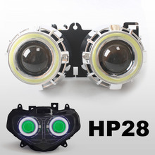 KT Motorcycle HID Projector Headlight Suitable for Suzuki GSXR1000 2000 2001 2002  Angel Halos Demon Eyes Green Light