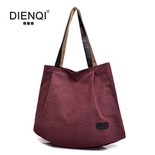 DIENQI Famous Brand Women's Canvas Handbags Shoulder Bag Female Canvas Tote Bags Large Capacity Women's Casual Bolsa feminina(China)