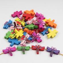 50pcs Wood Beads 20x26mm Lovely Dragonfly Spacer Beading Colored Wooden Beads for DIY Baby Toys & Pacifier Clip Necklace