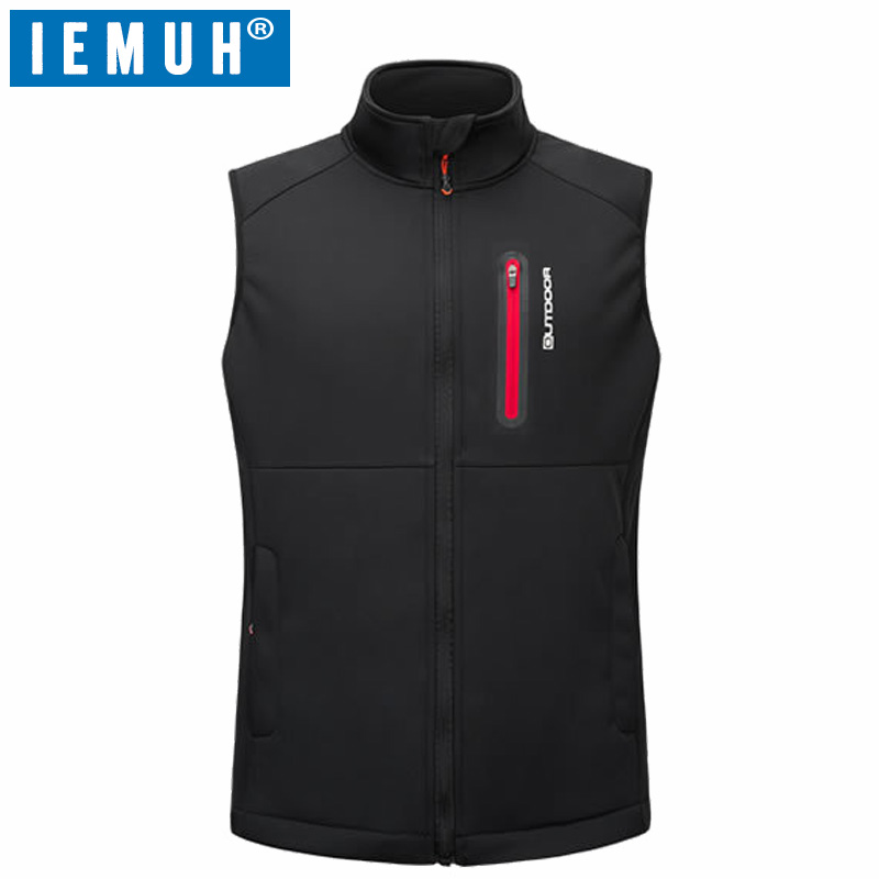 IEMUH Brand Men Winter Hiking Vest Thermal Thermal Camping Waistcoat Men Sports Fleece Vest Plus Size Hiking Vest With Pockets<br>