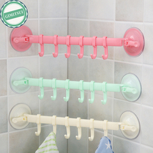 Towel Holder Rack Wall Suction Cup 6 Hooks Bathroom Kitchen Door Wall Hanging Organizer Storage Rack Holder Towel Sucker Hanger(China)