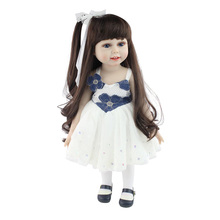 18'' Realistic American Baby Doll Silicone Reborn Baby Dolls for Girls Long-hair with Blue Eyes Baby Alive Toys
