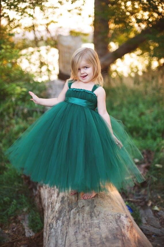 Beautiful Girls Long Tutus Dress Kids Fluffy Tulle Princess Wedding Dress Ball Gown with Satin Bow Waist Children Evening Dress<br>