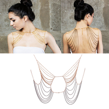 Fashion Women Full Body Shoulder Multilayer Chain Harness Tassel Necklace #53024