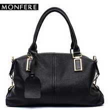 MONFERE fashion genuine leather bags women top-handle Boston shoulder bags female casual pillow hobos soft Large crossbody bag(China)