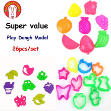 26pcs Color Play Dough Model Light Clay Tool Toys  Creative 3D Plasticine Tools Playdough Modeling Clay Set Gift for Children