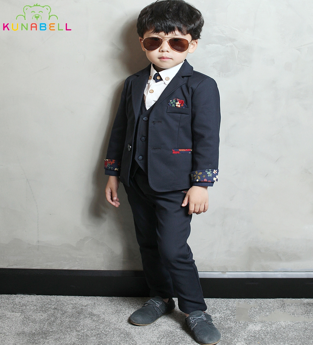 Boys Blazer Formal Suits Weddings Birthday Party Dress Coat Shirt Waistcoat Pants Gentleman Kids Children Costumes Clothes F18<br>