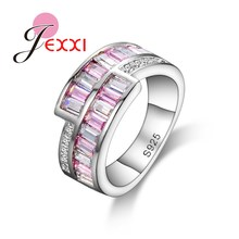 PATICO 925 Sterling Silver Luxry Wedding Ring Engagement Pink & Clear AAA CZ Crystal Jewelry Women Austrian Crystal
