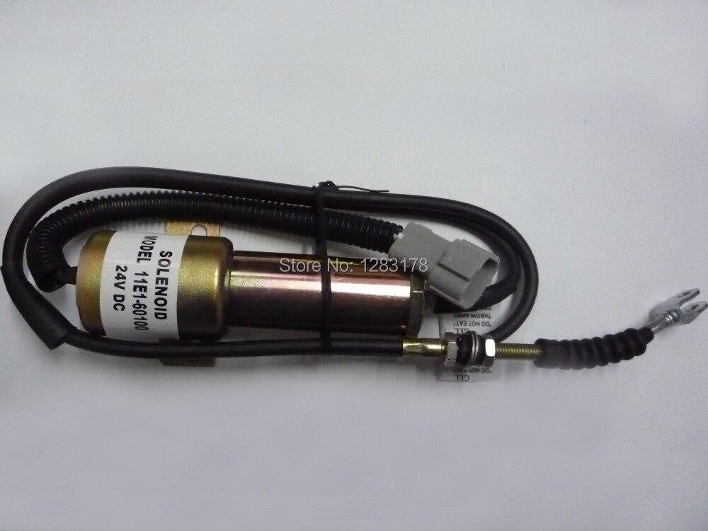 R210 Fuel Shutdown Solenoid Valve 11E1-60100-24 (24V 120CM wire)<br>