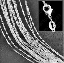 "10PC Fine Jewelry Findings 16""-30"" Necklace Chains  Silver Plated 1.0MM Wave Chain+Lobeter Clasp Jewellery Sets For Pendant"