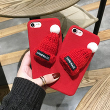 For iPhone 6 6s Plus 6plus 7 7Plus 5.5''Back Cover Polish Soft Phone Cases With 3D Christmas Santa Claus Cute Red Hat Decor Case