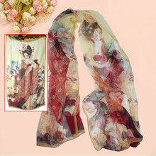2016 Fashion Women Vintage Retro Chinese Beauty Print Long Soft Georgette Chiffon Scarf Shawl Wraps Stole Silk Scarves Gift(China)