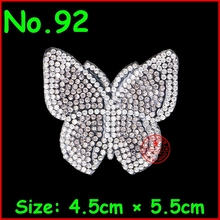 1 Pcs/Lot White Butterfly Design Hot Fix Motif Rhinestone Iron On Crystal Patch For Women Wedding Dress Kids Clothes DIY T Shirt(China)