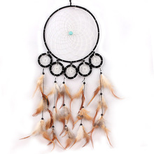 Dream Catcher wall hanging decoration bead ornament craft with feathers 6 circles