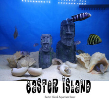 The Easter Island Statue Accessory Stone Pipe Decoration Product All For Fish Tank Aquarium Decoration Ornament Appliance Decor(China)