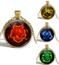 Hogwarts Slytherin Crest Pendant Harry School Logo Necklace Fashion Glass Cabochon Gifts 12pcs/lot(China)