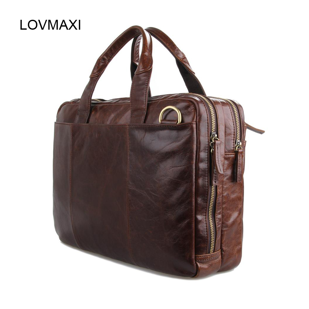 2016 New Mens genuine oil leather handbags,male briefcase laptop bags man cow leather shoulder bags cross-body bag7092-2R<br><br>Aliexpress