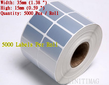 "5000 Labels Per Roll Blank PET Silver Shipping label 35mm (1.38"") x15mm (0.59"")For ZM400-2001-0000T Bar Code Print free delivery"
