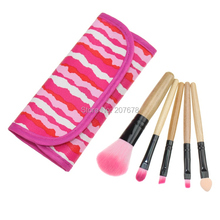New Makeup Tools Products 5 pcs Makeup Brushes Set Eyeshadow Blush Lip Gloss Pen Pink And White Stripe Case(China)