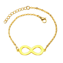 Stainless Steel Charm Bracelet Gold Vacuum Color Circle Eight Doubel Round Shape Style Jewelry Bracelets For Women