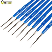 8pcs Crochet Hooks Yarn Knitting Needles Set Stainless Steel Hooks Blue Plastic Handle Template Knit Needles Weave DIY Crafts