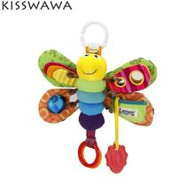 KISSWAWA Stroller Bed Hanging Butterfly Bee Handbell Rattle Mobile Teether Education Stuffed Plush Toys For Baby Girl Boy