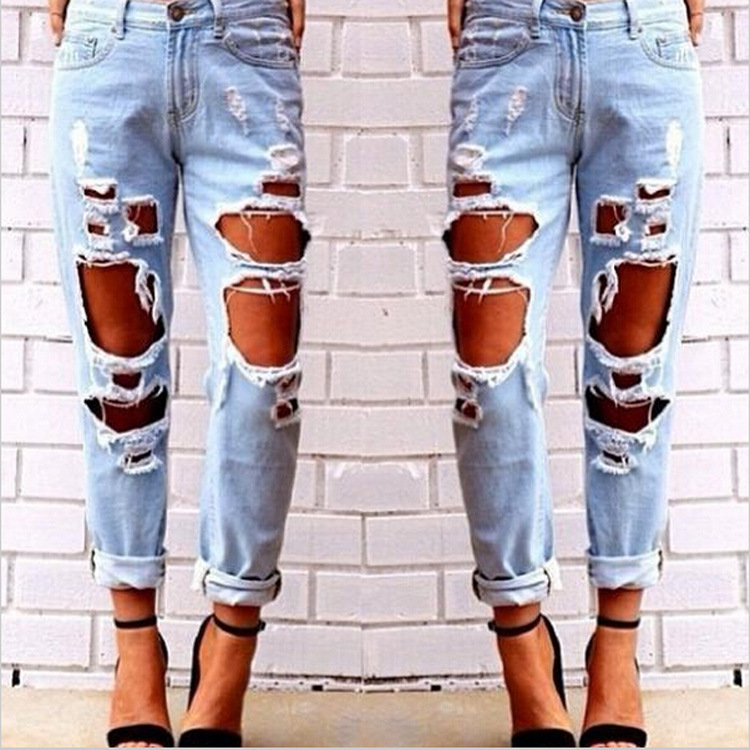 2015 Fashion Europe American Loose Big Holes Wild Sexy Exaggeration Cuffs Jeans Knee Hole Beggar Boyfriend  Ripped Cowboy PantsОдежда и ак�е��уары<br><br><br>Aliexpress