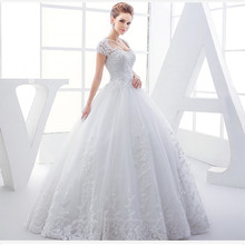 Wedding Dress 2017 Bridal Top quality fabric lace embroidered handmade beaded princess bride sexy neck bandage ball gown