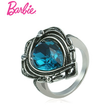 Barbie Big Love Heart Ring Retro Silver Color Fashion Blue Mosaic Mermaid's tears Rings For Women(China)